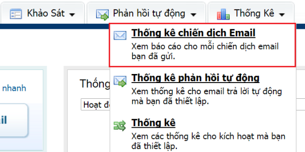thống kê chiến dịch email markering
