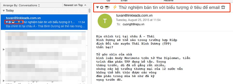 Biểu tượng trên tiêu đề Email trong Outlook Desktop