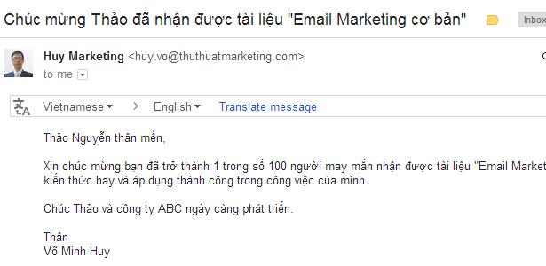 ca nhan hoa noi dung email marketing