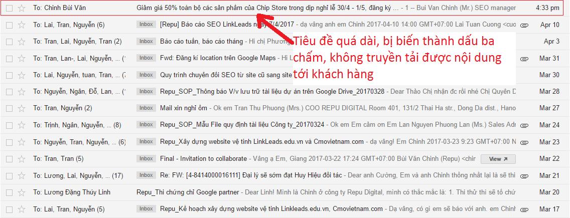 tiêu đề email quá dài
